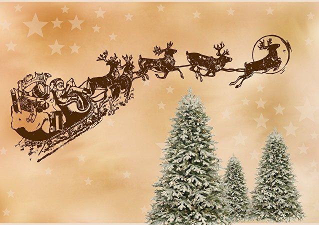 Papá Noel con sus renos (imagen ilustrativa)