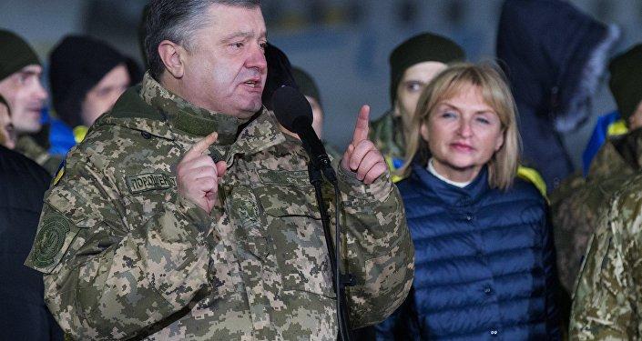El presidente de Ucrania, Petró Poroshenko, durante el canje de prisioneros entre Kiev y Donbás