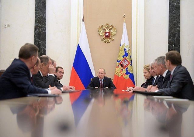 El presidente ruso, Vladímir Putin y los miembros permanentes del Consejo de Seguridad de Rusia