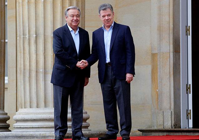 Secretario General de la Organización de Naciones Unidas, António Guterres, y presidente de Colombia, Juan Manuel Santos