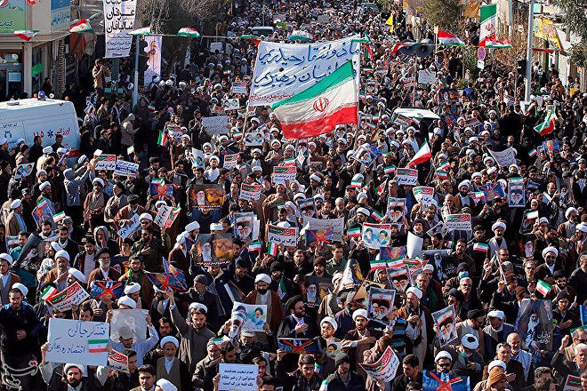 Marcha progubernamental en Irán, 3 de enero de 2018