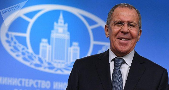 Serguéi Lavrov, ministro de Exteriores, durante su conferencia de prensa anual, Moscú (Rusia), 15 de enero de 2018