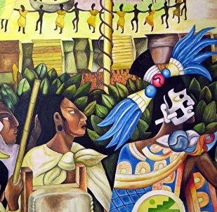 Un mural sobre los aztecas