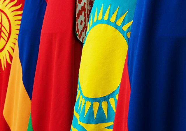 Banderas de países de la Unión Económica Euroasiática (archivo)