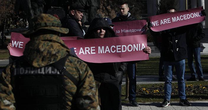Manifestación en Macedonia