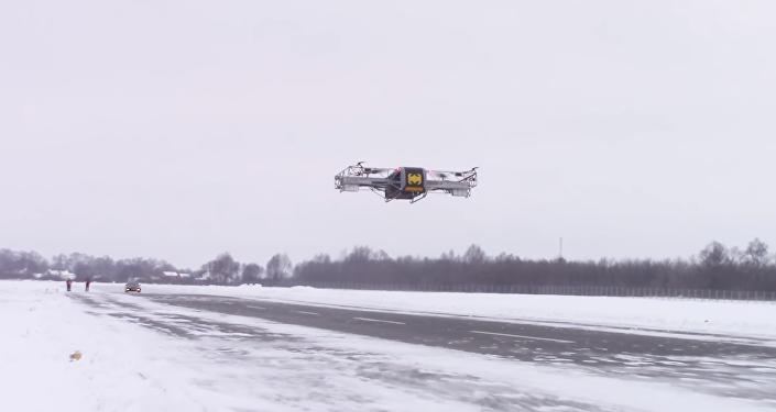El dron pesado ruso SKYF durante el vuelo de demostración
