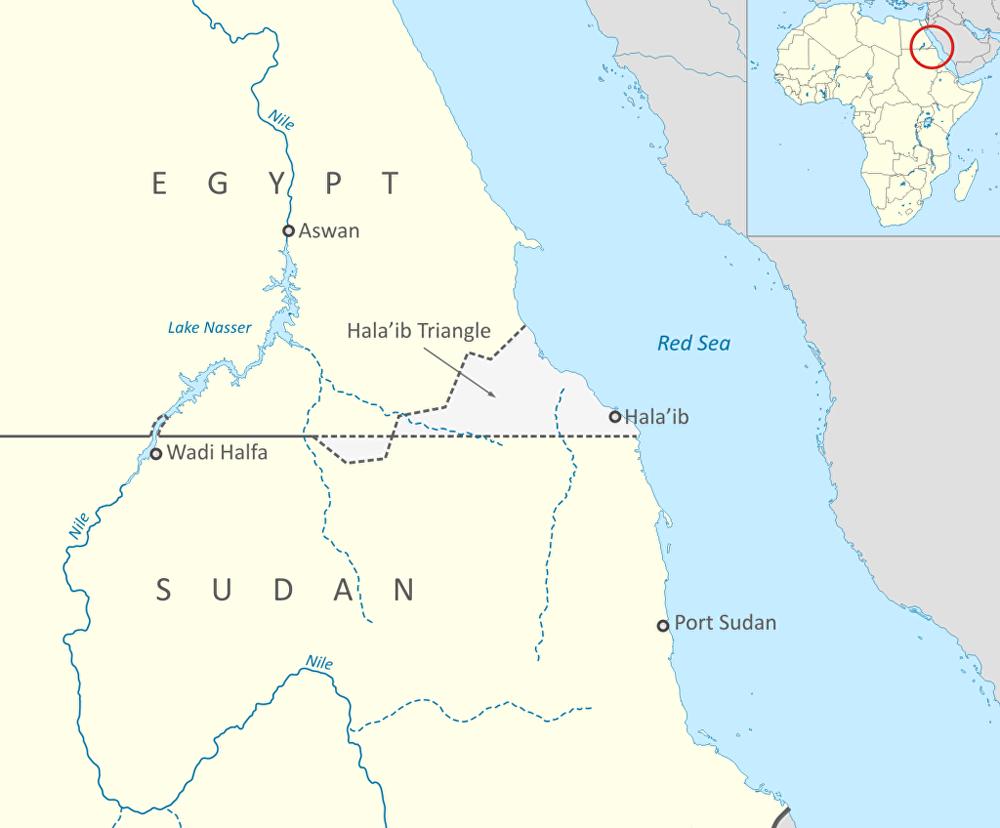 La zona del Triángulo de Hala'ib, en gris