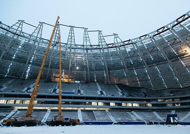 La construcción del estadio Samara Arena