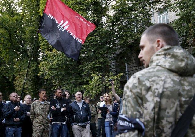 Radicales ucranianos del grupo extremista Pravy Sektor ('Sector Derecha') en Kiev (Ucrania), 11 de julio de 2015