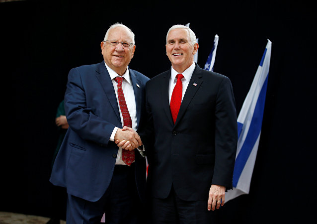 Vicepresidente de EEUU, Mike Pence, y presidente de Israel, Reuven Rivlin