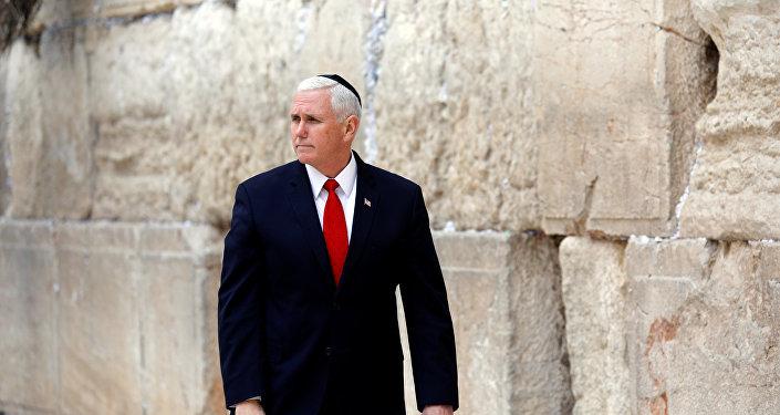 Mike Pence, el vicepresidente de Estados Unidos durante su visita de 48 horas a Israel