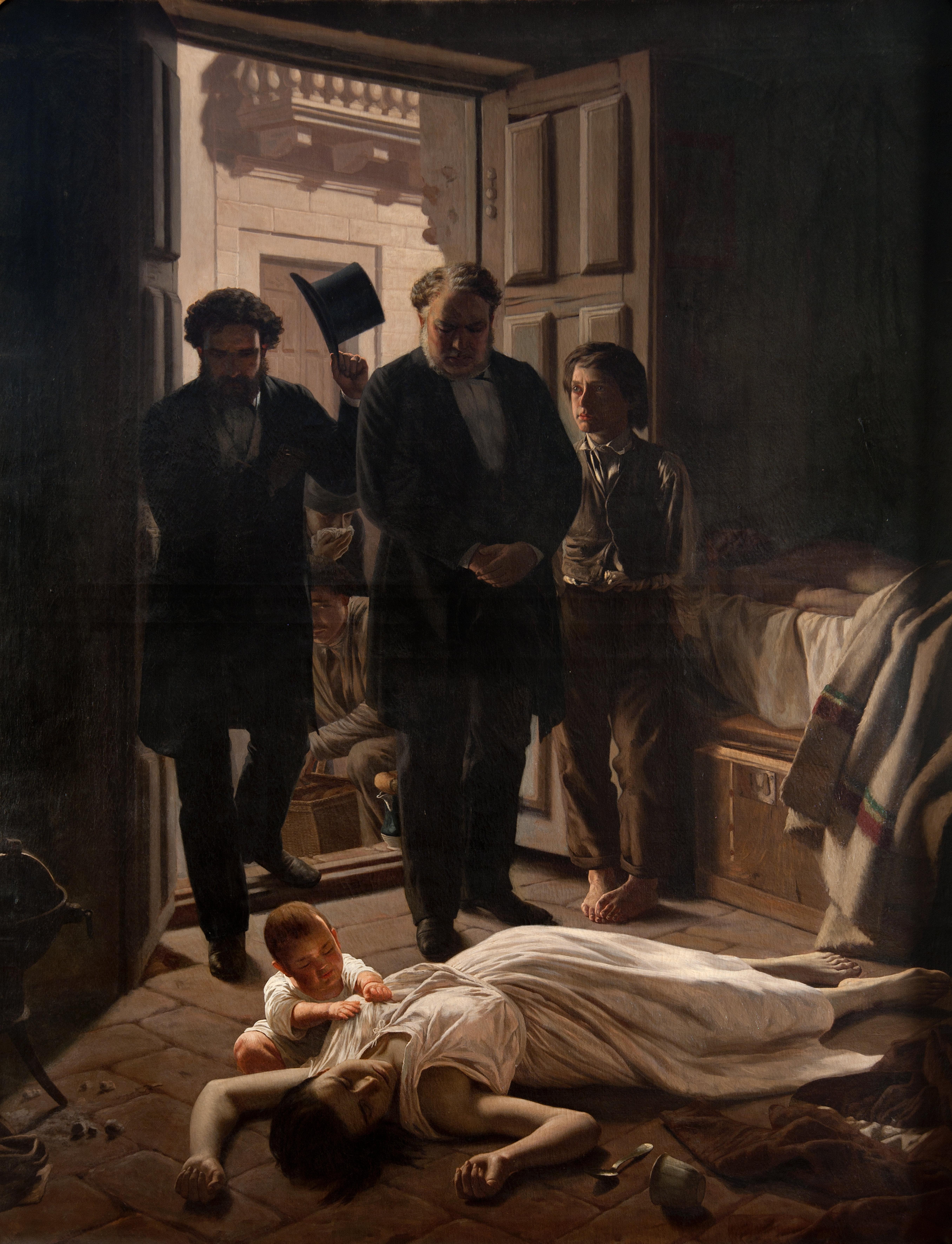 El cuadro 'Un episodio de la fiebre amarilla en Buenos Aires', de Juan Manuel Blanes, 1871