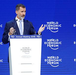 El rey de España, Felipe VI, ofrece un discurso en el Foro Económico Mundial de Davos