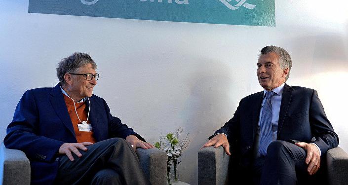 El presidente de Argentina, Mauricio Macri, junto al cofundador de Microsoft, Bill Gates