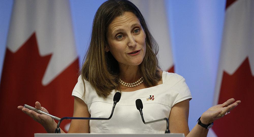 Chrystia Freeland, la portavoz del Ministerio de Exteriores de Canadá