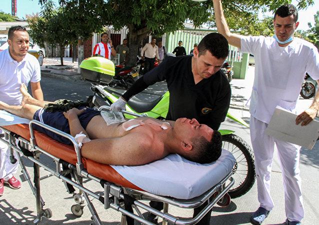 Un policía herido en el atentado contra una estación de Policía en Barranquilla, Colombia