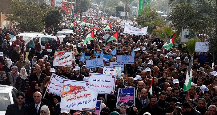 Manifestación contra la decisión de EEUU de reducir su contribución a la Unrwa en la Franja de Gaza