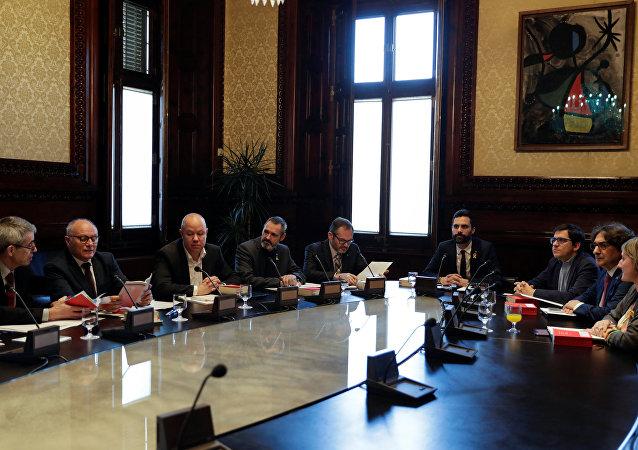 El presidente del Parlamento de Cataluña, Roger Torrent durante una reunión en el Parlamento de Cataluña