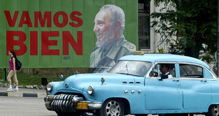 Cartel de Fidel en La Habana, Cuba