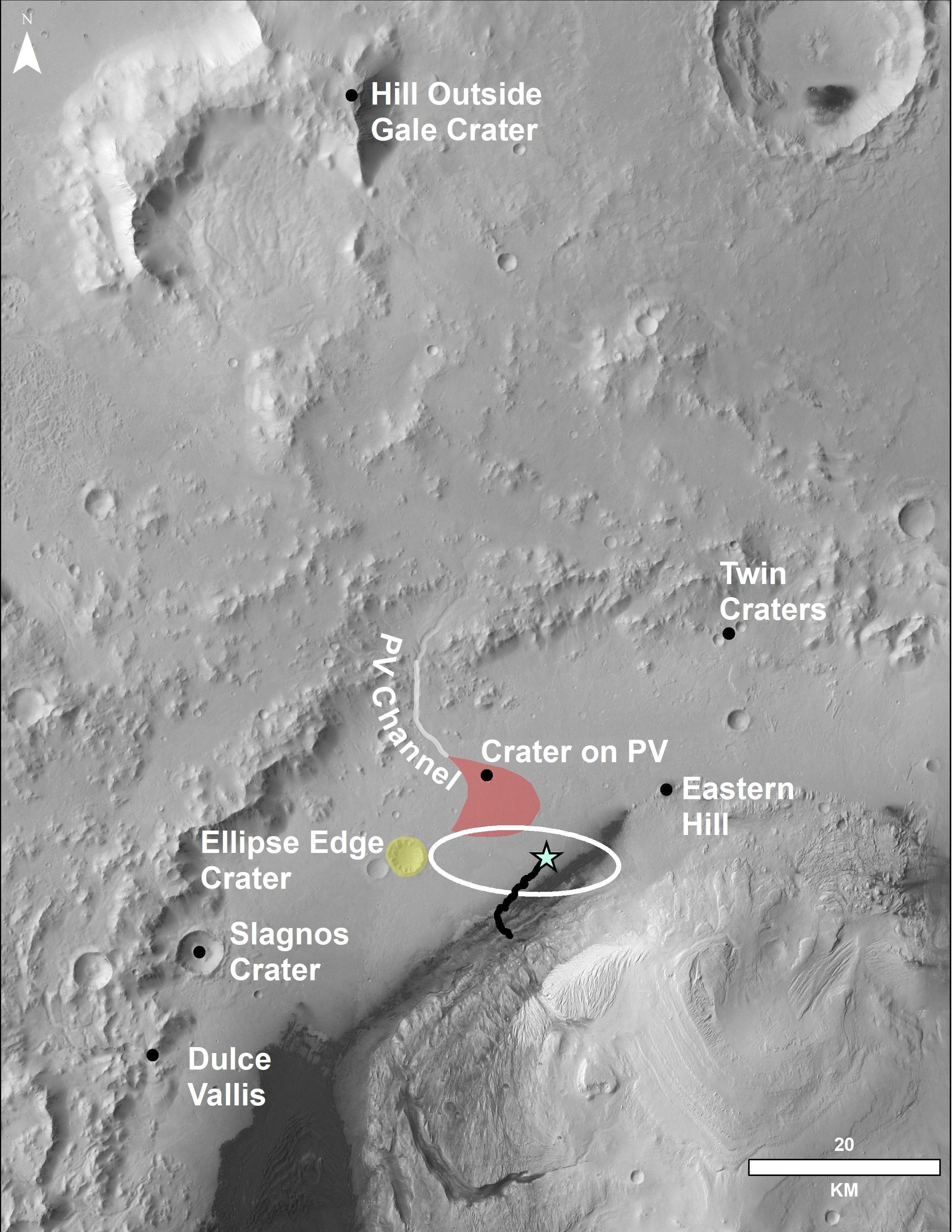 Esta foto aérea muestra la zona donde se encuentra el rover Curiosity y donde ha viajado hasta ahora. El cráter en la parte superior de la imagen se encuentra a más de 80 km del rover.