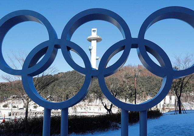 Anillos olímpicos en Pyeongchang, Corea del Sur