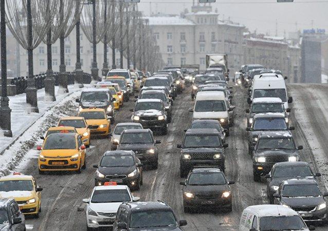 Un atasco en Moscú