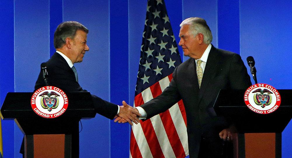 Presidente de Colombia, Juan Manuel Santos, y secretario de Estado de EEUU, Rex Tillerson