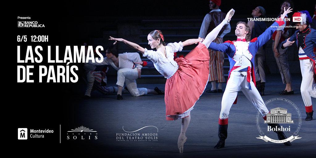 Afiche de Las llamas de París, en la versión del Bolshói que se presentará en el Teatro Solís de Uruguay en alta definición.