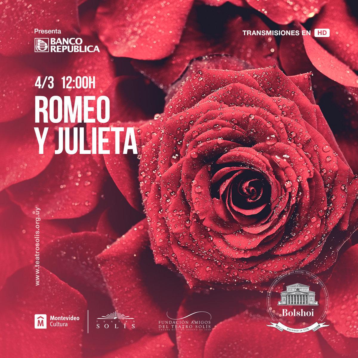 Afiche de Romeo y Julieta, en la versión del Bolshói que se presentará en el Teatro Solís de Uruguay en alta definición.