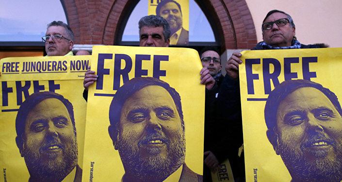 Una manifestación en Barcelona por la libertad de Oriol Junqueras