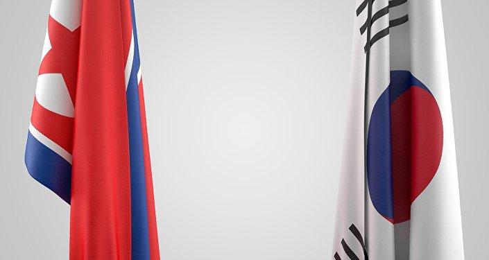 Las banderas de Corea del Norte y Corea del Sur
