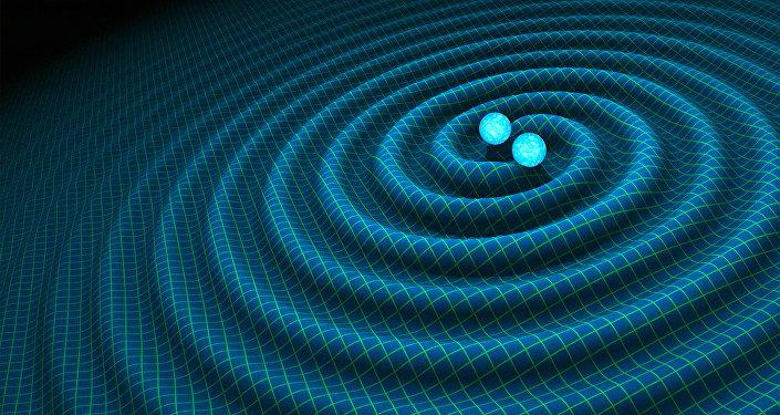 Ondas gravitatorias generadas por estrellas de neutrones (ilustración)