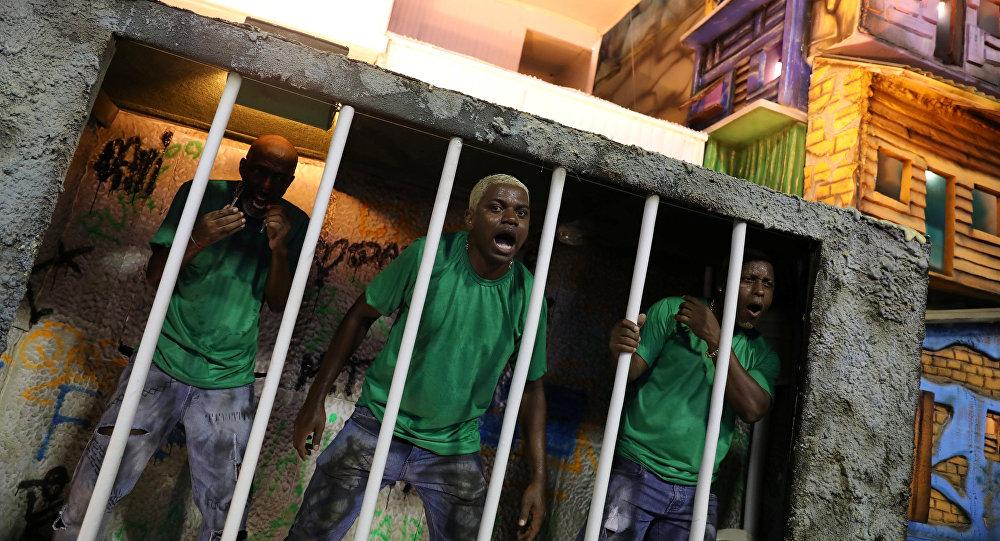 La escuela de samba Beija Flor durante el carnaval en Río de Janeiro, Brasil
