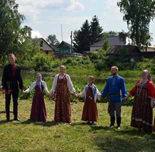 El pueblo de Russkoie (Ruso), en Rusia