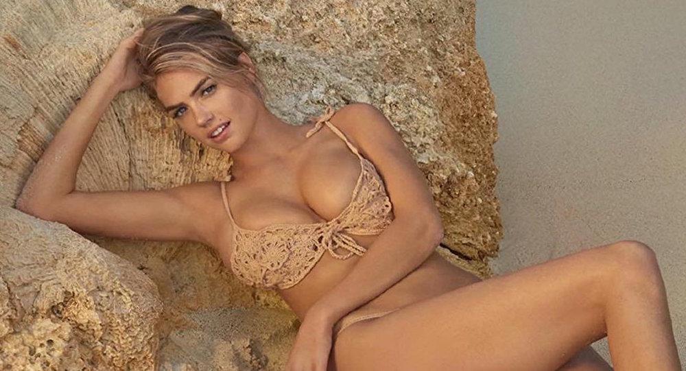 La actriz y estrella de Sports Illustrated Kate Upton durante la sesión fotográfica en Aruba