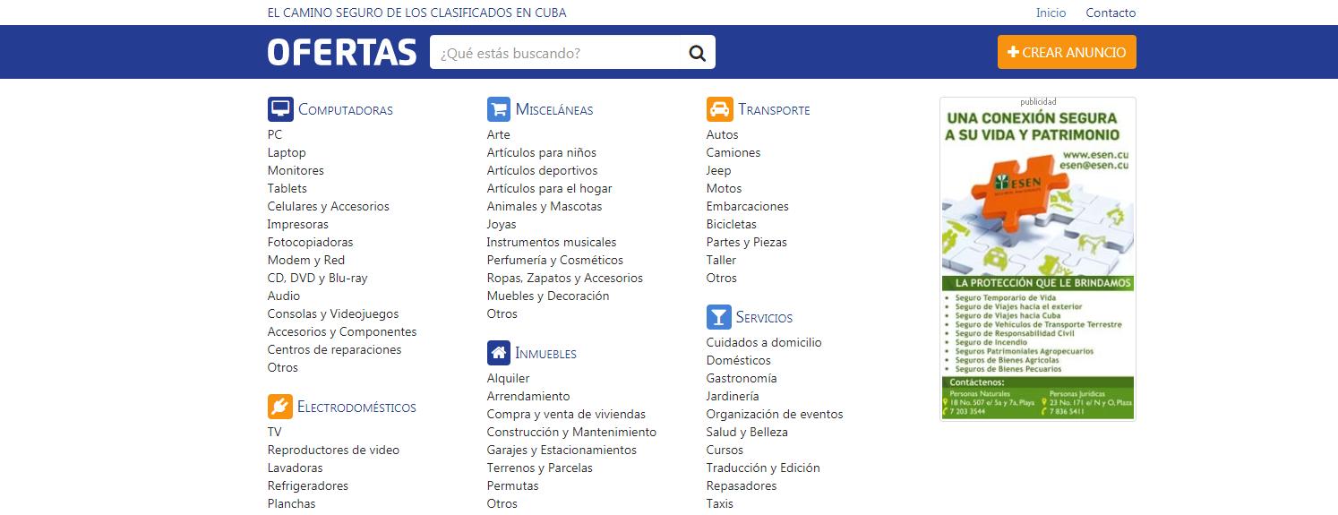 Ofertas, es el sitio oficial de los clasificados cubanos creado en 2015