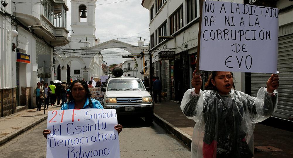Protestas contra Evo Morales en Sucre, Bolivia
