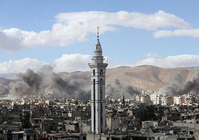 Situación en Guta Oriental, suburbio de Damasco, la capital de Siria
