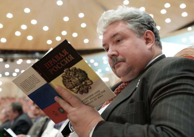 El político Serguéi Baburin durante la apertura del XIX Concilio Mundial del Pueblo Ruso