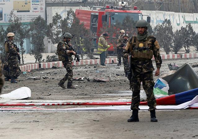 El lugar de la explosión en Kabul
