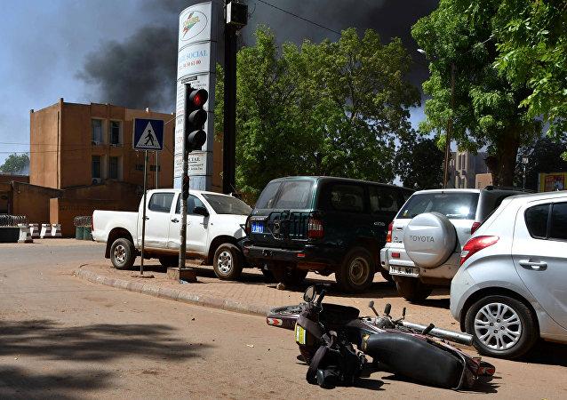 El lugar del ataque en la capital de Burkina Faso