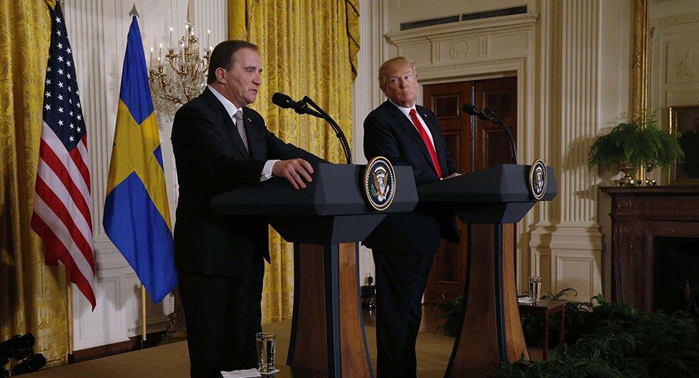 Donald Trump, presidente de EEUU y Stefan Lofven, primer ministro sueco