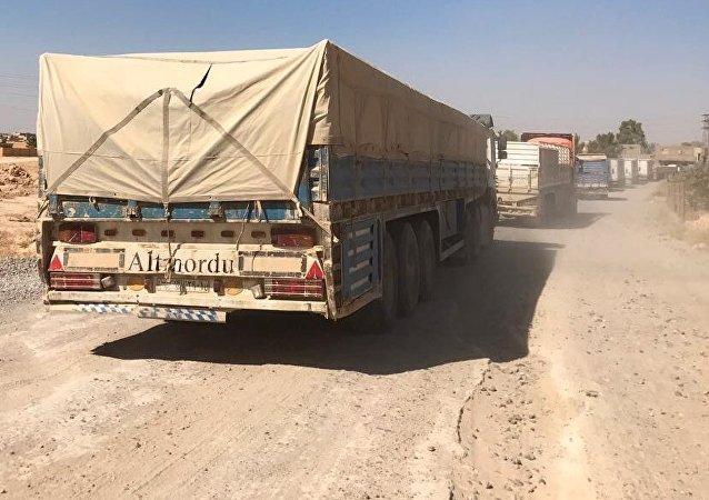 Un convoy humanitario en Siria (imagen referencial)