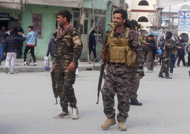 El lugar del atentado terrorista en Kabul, Afganistán