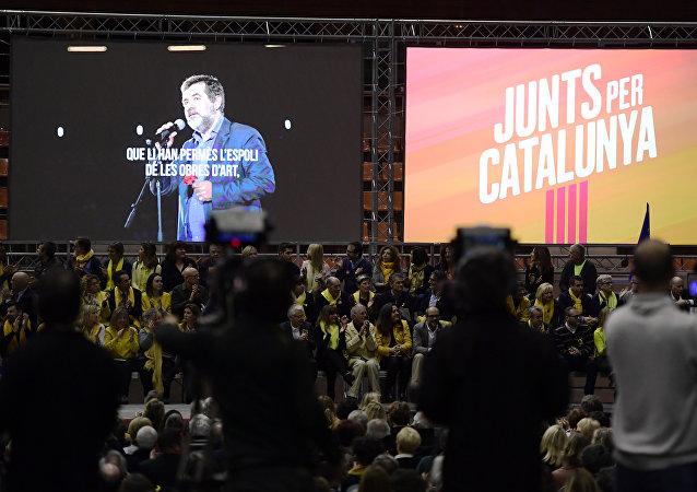 Jordi Sánchez, el expresidente de la Asamblea Nacional Catalana (ANC) en la pantalla (archivo)