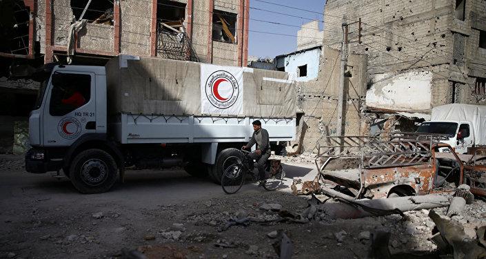 Convoy humanitario en Guta oriental, Damasco, Siria