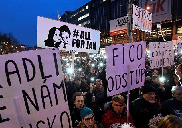 Una protesta llamada Defendamos la decencia en Eslovaquia en Bratislava