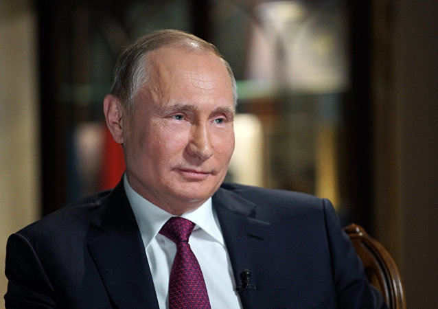 El presidente de Rusia, Vladímir Putin, durante la entrevista con la cadena de televisión estadounidense NBC
