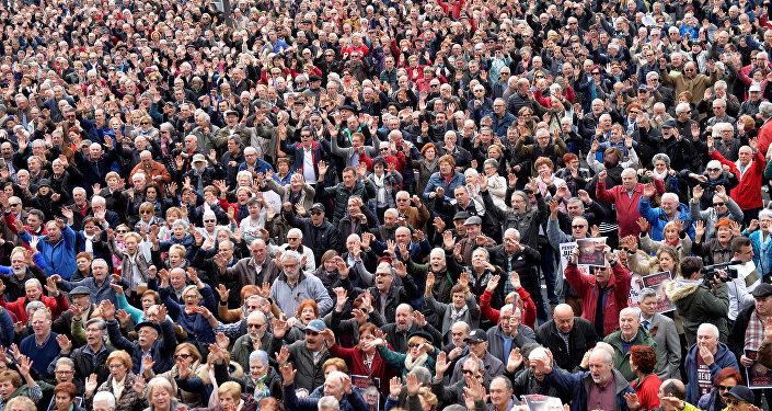 Manifestación de jubilados y pensionistas en Bilbao, España
