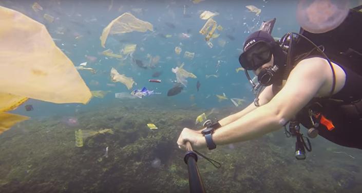 Un buceador se sumerge en un mar de basura